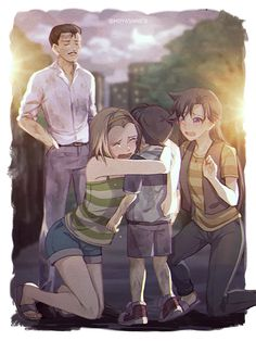 Beautiful art from Detective Conan. This pic needs a story! Why are Sonoko, Ran and Kogoro all so sad about Conan? c':
