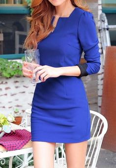 Sapphire Blue Dress with Black Cuffs