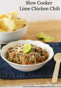 Perfect for those cold days!  Slow Cooker Lime Chicken Chili by www.whatscookingwithruthie.com #recipes #slowcooker #chicken