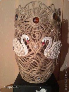Поделка изделие Плетение Ваза из джута Лебединая песня Бисер Бусины Гуашь Клей Шпагат фото 2