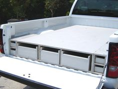 to Install a Truck Bed Storage System experts offer instructions on how to build and install a custom storage system in a truck bed. experts offer instructions on how to build and install a custom storage system in a truck bed. Truck Bed Box, Truck Bed Drawers, Truck Bed Slide, Truck Bed Storage, Truck Bed Camping, Truck Boxes, Truck Tool Box, Van Storage, Bed With Drawers