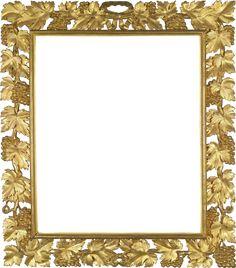 Transparent Frames | Gold Transparent PNG Photo Frame with Vine