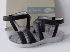Clarks Sillian Spade Women's Black Light-weight Ankle Strap Sandals, size 7.5 #Clarks #AnkleStrap