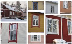 Pretty windows from old Finnish wooden houses built in the beginning of 1900