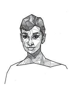 Geometric portrait of Audrey Hepburn by Allison Kunath / ink on paper drawing, 9x12 | Art