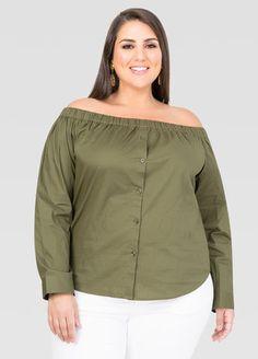 Off-Shoulder Button Front Shirt
