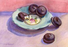"""Mallomars, 5x7"""", Gouache on Paper.  By Julie Kessler"""