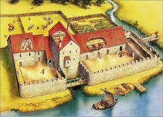 Reconstitution du château d'Uexkull (Ikskile) appartenant à l'évêque de Riga. Premier château et premier bâtiment construit en pierre en Lettonie (1185).
