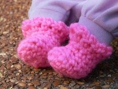 """My first thought was """"preemie booties!"""" I'll bet if these are made with a very soft yarn, they would work for preemies! Sweet Baby Doll Booties"""