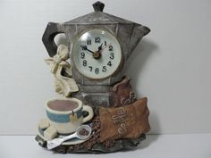 Vintage Cherison Coffee Pot Clock ( Hand Crafted and Hand Painted)