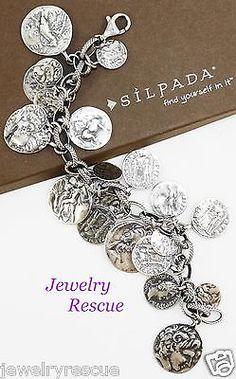 Silpada-Coin-Charm-Bracelet-925-Sterling-Silver-8-25-Length-B1624-z
