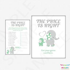 Mint and Gray Elephant Baby Shower Games The Price by OhBabyShower