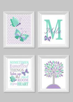 Butterfly Nursery Art, Grey Mint Lilac, Baby Girl Room Decor, Monogram, Tree, Chevron, Lavender, Sometimes The Smallest Things, Canvas, Name by SweetPeaNurseryArt on Etsy https://www.etsy.com/listing/212595555/butterfly-nursery-art-grey-mint-lilac