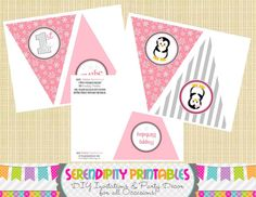 Winter ONEderland Penguin Collection in by SerendipityPrintable, $7.00