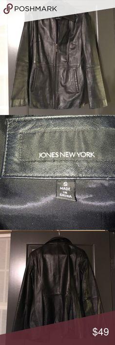 Jones NY Genuine Leather Jacket- size S Selling used black genuine leather, Jones NY jacket, size small. Make me an offer!!! Jones New York Jackets & Coats