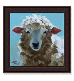 "USA-made ""Ba Ba Blue Sheep"" framed print by Leslie Peck at Plow and Hearth.  Print has a faux canvas finish for added protection and the look of an original painting.  Framed in a 2"" wide frame with a sawtooth hanger and paper backing.  Size is 16""W x 16""H for the print, and 20""W x 20""H in the frame."