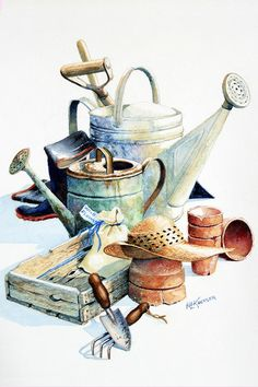 Garden Painting - Todays Toil Tomorrows Pleasure II by Hanne Lore Koehler Summer Painting, Garden Painting, Garden Art, Garden Tools, Garden Illustration, Artist Card, Still Life Drawing, Watercolor Artists, Watering Can