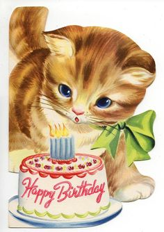 Vintage Greeting Card (06) - HAPPY BIRTHDAY - KITTEN