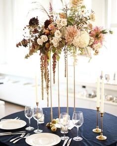 Fall wedding tall centerpiece, reception flowers, reception, dahlia, fall c Floral Wedding, Fall Wedding, Wedding Colors, Wedding Bouquets, Wedding Flowers, Trendy Wedding, Wedding Reception, Wedding Blue, Wedding Rustic