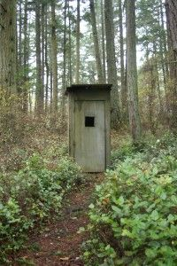 Old schoolhouse outhouse on Orcas Island.