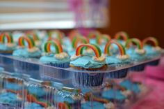 Rainbow cupcakes at a My Little Pony Party #mylittlepony #partycupcakes