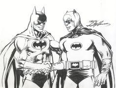 Neal Adams' Batman meets Adam West's Batman, illustrated by Neal Adams