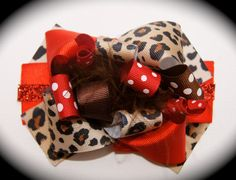 Red and Cheetah Print Hair Bow