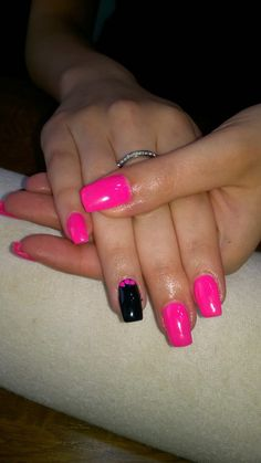 neon pink and neon glitter and neon pink gel