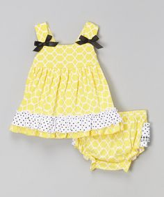 Look at this Baby Essentials Yellow & Black Lattice Swing Top and Diaper Cover - Infant on #zulily today!