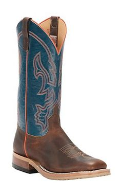 Anderson Bean Men's Briar with Teal Fanting Goat Top Square Toe Crepe Sole Western Boot