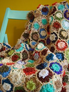 Hand Crochet Flower Throw. by HandKnittedByLaura on Etsy, £60.00