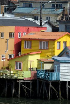 Palafitos in Castro, Chiloe Island House On Stilts, The Great Escape, Simple House, Walking Tour, Traditional House, South America, Places To Travel, Places Ive Been, To Go