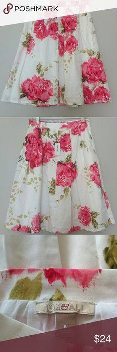 Dressbarn skirt NWT  size 6 Roz & Ali skirt from dressbarn. This skirt is lined and is 100% cotton. Beautiful pink and green floral pattern with white background...Absolutely gorgeous ?? Dress Barn Skirts Circle & Skater