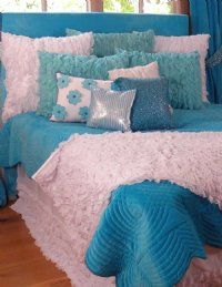 Turquoise Chiffon Ruffle Bedding for girls