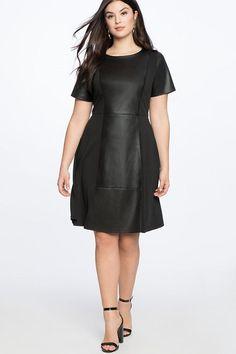 Little Black Dress for Plus Size Women - Black Faux leather dress that is designed to fit plus size. Perfect little black style dress. A5