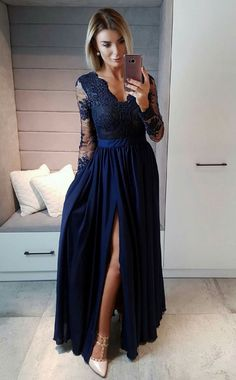 Long Sleeves Navy Blue Chiffon Long Prom Dress