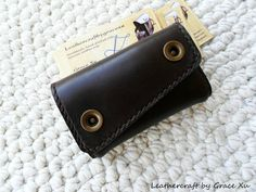 100% hand stitched handmade brown cowhide leather business card case / change pouch / holder