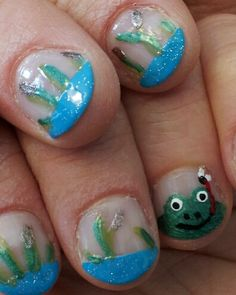 Cute froggy and wetland nails!