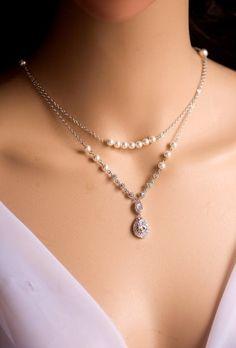 Backdrop Pearl necklace, Bridal necklace, Swarovski Bridal jewelry, JULIA