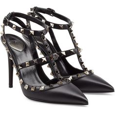 Valentino Valentino Cash & Rocket Leather Rockstud Stiletto Pumps (2.484.800 COP) ❤ liked on Polyvore featuring shoes, pumps, heels, valentino, high heels, pointy-toe pumps, black ankle strap pumps, black pointed toe pumps, leather pumps and high heel stilettos