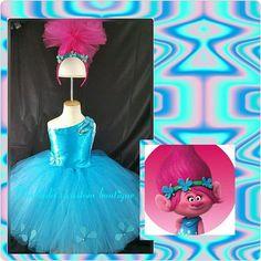 Poppy jewel costume with gem headpiece , poppy troll tutu dress, Trolls costume, Trolls birthday, Poppy Troll