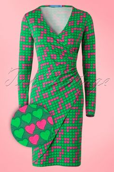 Lien & Giel - 60s Buenos Aires Hearts Dress in Green