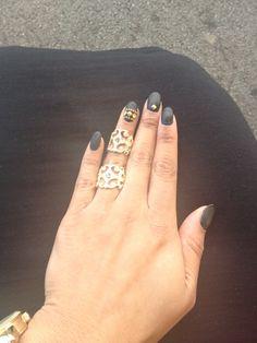 Matt black nails and gold studs