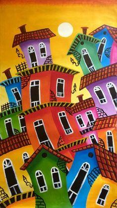 """""""SOLEIL""""TABLEAU ART MODERNE ABSTRAIT PEINTURE ACRYLIQUE SUR TOILE 60X 105 CM ENCADRE SUR CHASSIS BOIS : Peintures par cadeauchicfrance"""