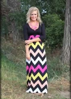 Chevron Maxi Dress - SALE
