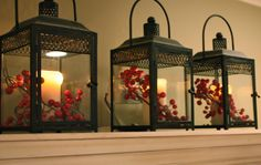 I love the versatility of lanterns. You can just put whatever in there with the candle and it gets all festive and pretty!