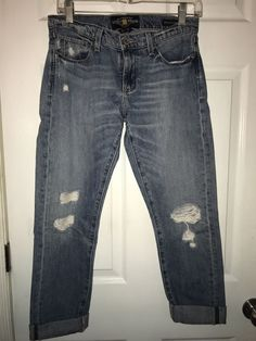 3ca3bf5bf Lucky Brand Womens Jeans Sienna Boyfriend Slim Crop Distressed Size 0 25   fashion