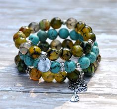 Turquoise & Green Stack of Bead Bracelets