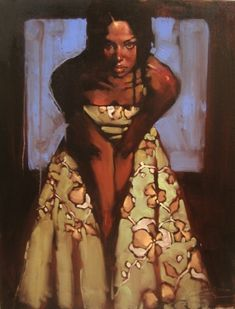 """""""Lady in the Blue Window"""" - Michael Carson (b. 1972), oil on canvas {figurative artist figurative female black woman décolletage art painting} <3"""