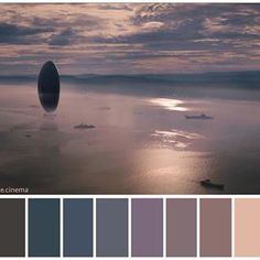 ": ""Arrival"" (2016). •Directed by Denis Villeneuve •Cinematography: Bradford Young •Production Design: Patrice Vermette •Colorist: Joe Gawler Movie Color Palette, Colour Pallete, Color Schemes, Color Palettes, Colour Combinations, Bradford Young, Arrival Movie, Cinema Colours, Color In Film"